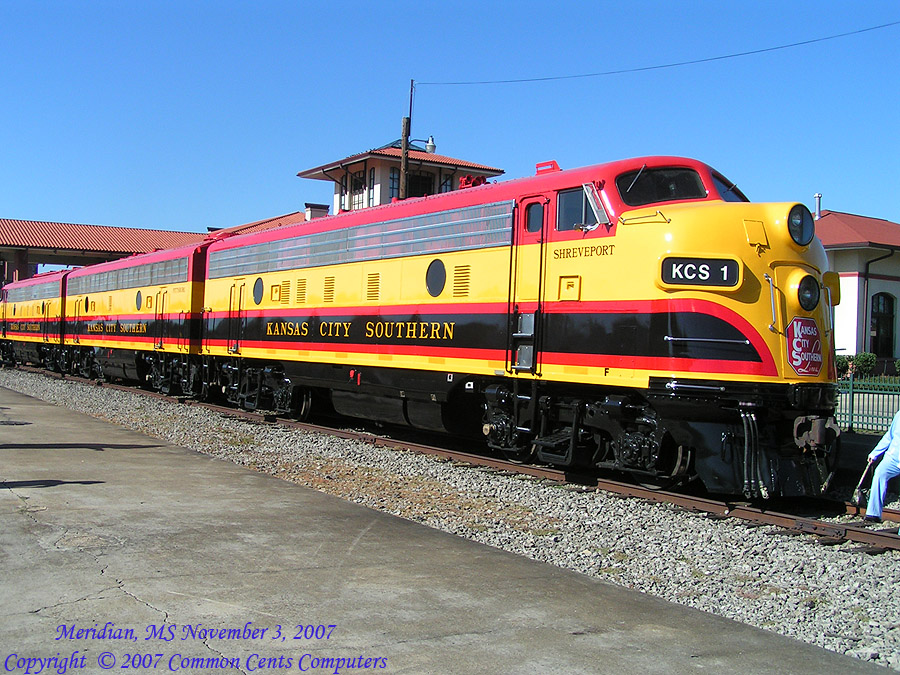 Kansas City Southern F Units KCS 1 and KCS2 Meridian, MS Union Station 11/2007