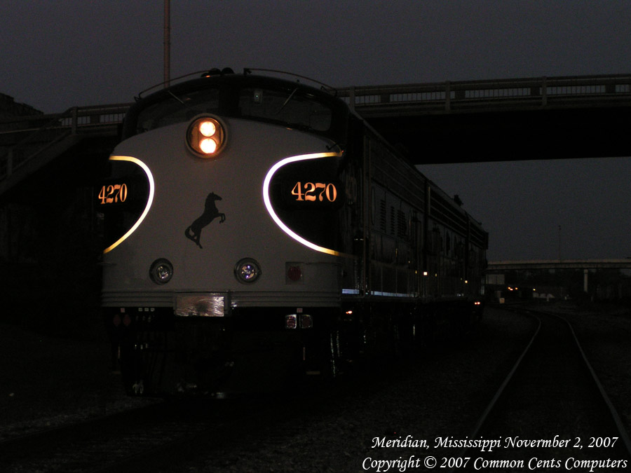 Norfolk Southern 4270 EMD F Unit Night at Meridian