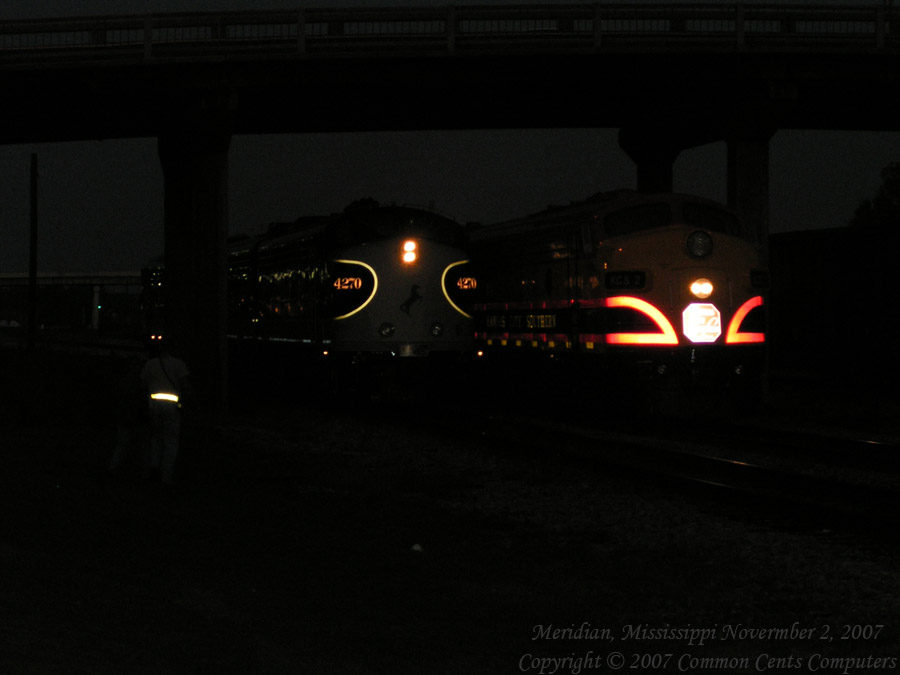 Two EMD F Units side by side Norfolk Southern 4270 Kansas City Southern KCS2 Night shot underway